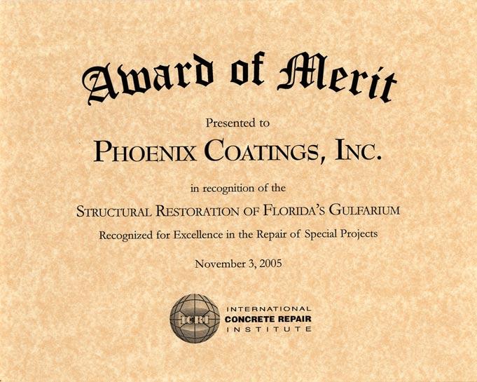 ICRI Award of Merit, Gulfarium, 2005