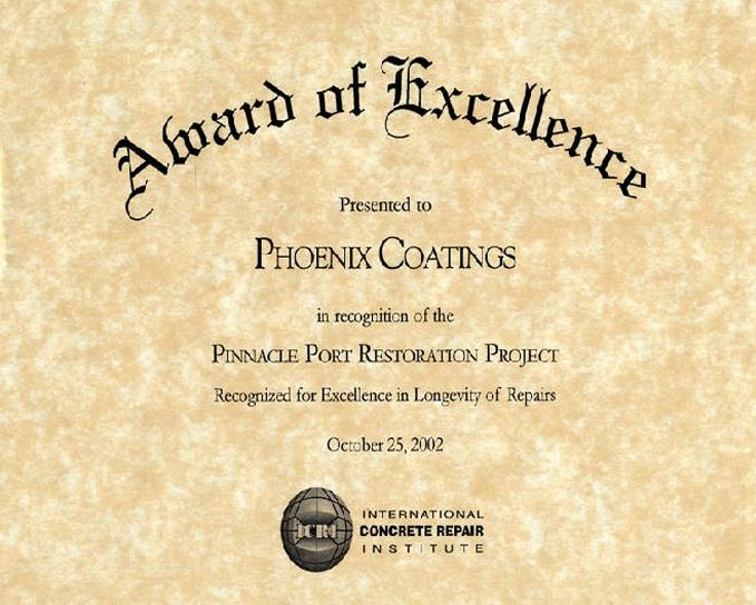 ICRI Award of Excellence, Pinnacle Port, 2002