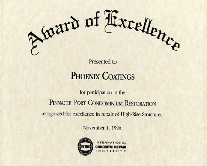 ICRI Award of Excellence, Pinnacle Port, 1996