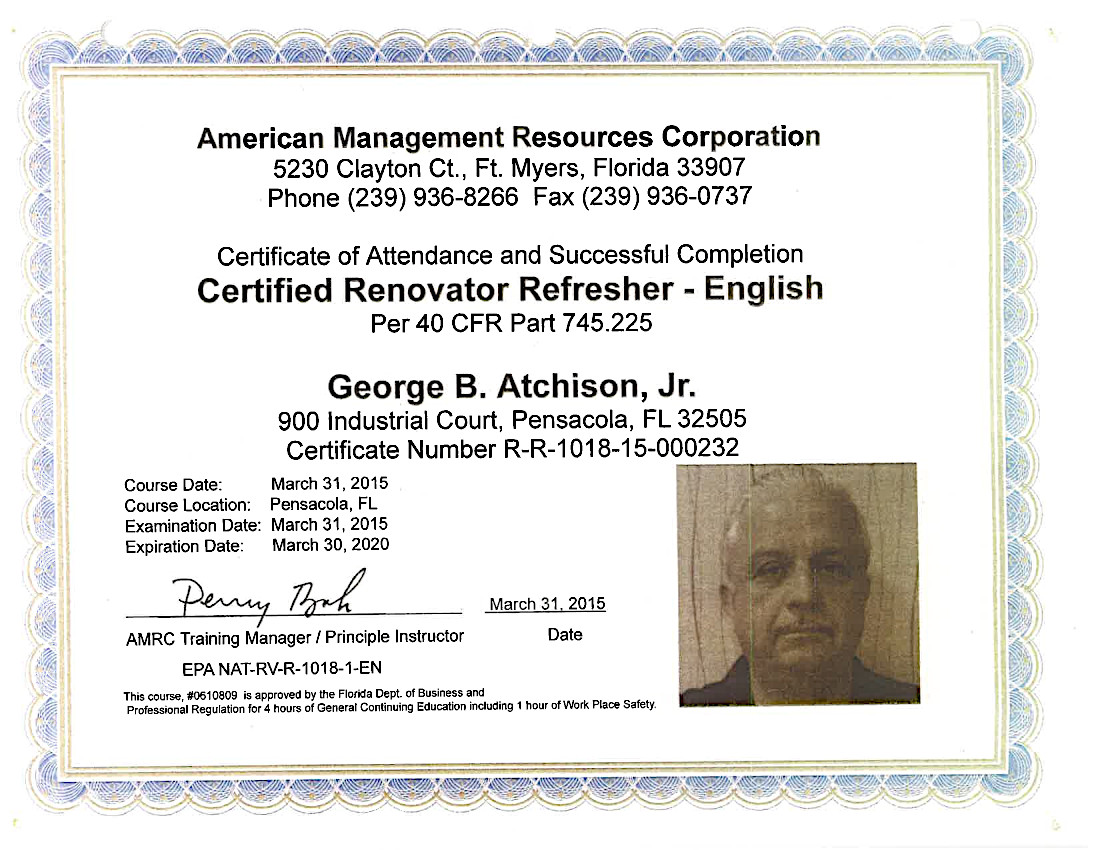 AMRC Certified Renovator Refresher Certificate