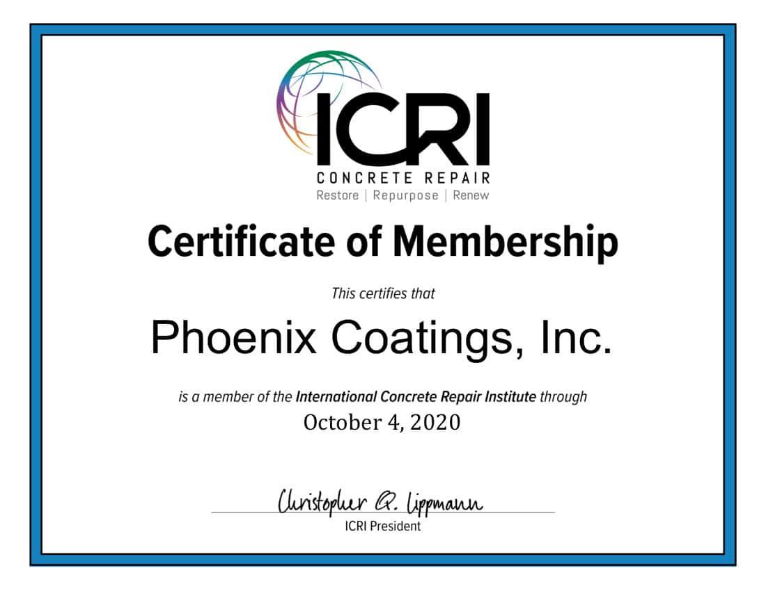 Phoenix Coating's ICRI certificate of Membership 2020