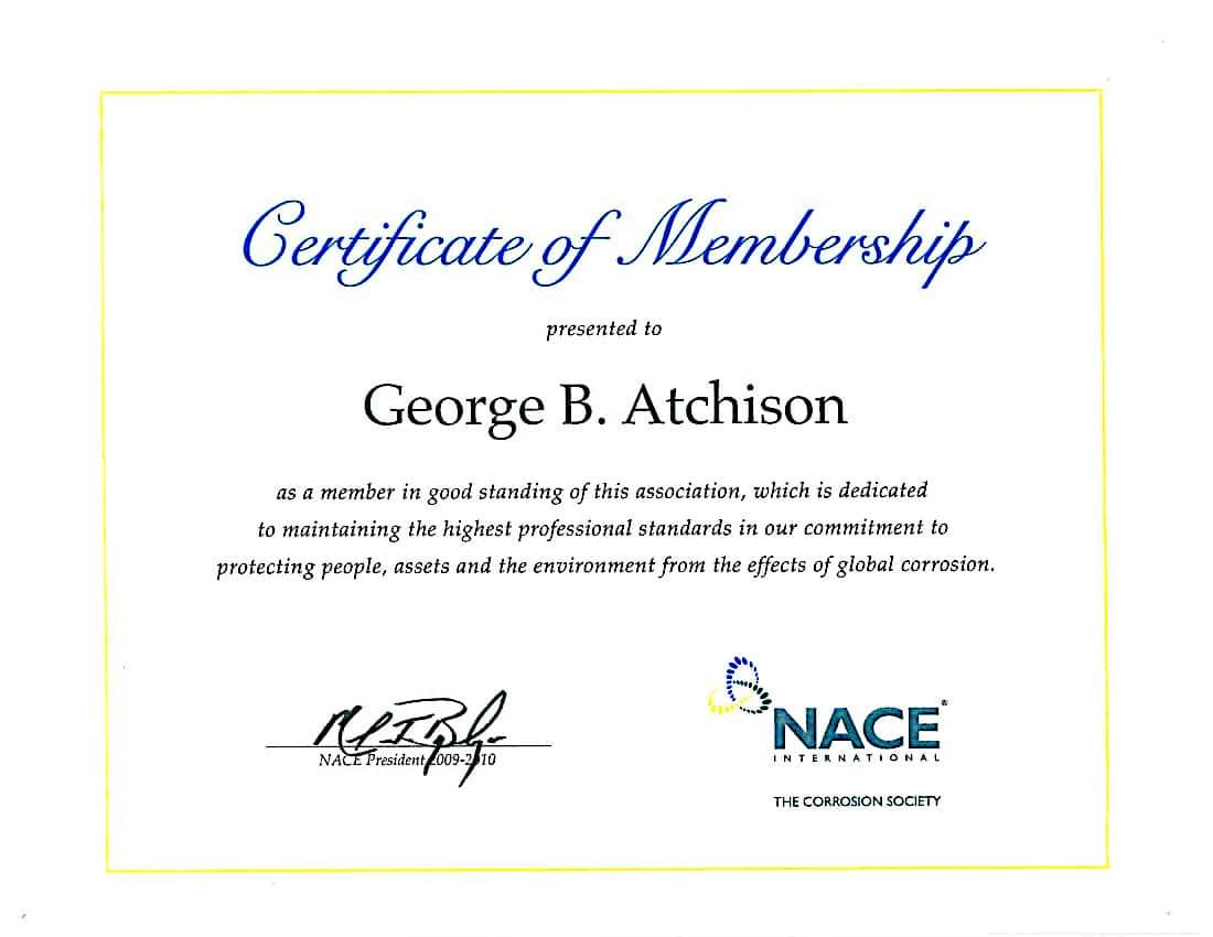 Nace International Membership Certificate