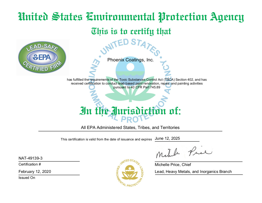 US EPA Lead Safe Certified Firm Certificate